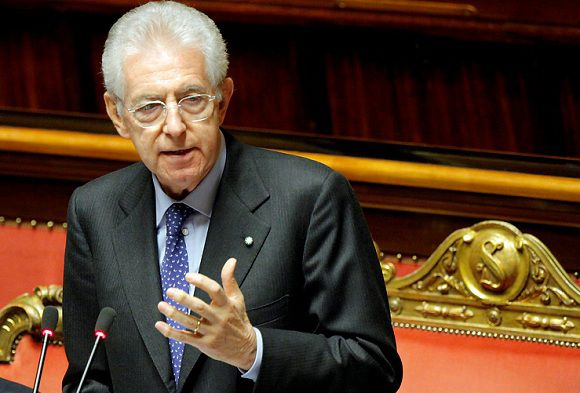 Caption: Italian Premier Mario Monti unveils his anti-crisis strategy ahead of a confidence vote in his day-old government at the Senate in Rome Thursday, Nov. 17, 2011. Monti formed his government Wednesday, shunning politicians and turning to fellow professors, bankers and other business figures to fill key cabinet posts. His administration is tasked with restoring confidence in the country's financial future and avoiding a worsening of the eurozone debt crisis, but his choice of unelected experts to lead the government and the prospect of tough reforms have fueled unrest among some Italians. (AP Photo/Mauro Scrobogna, Lapresse) ITALY OUT