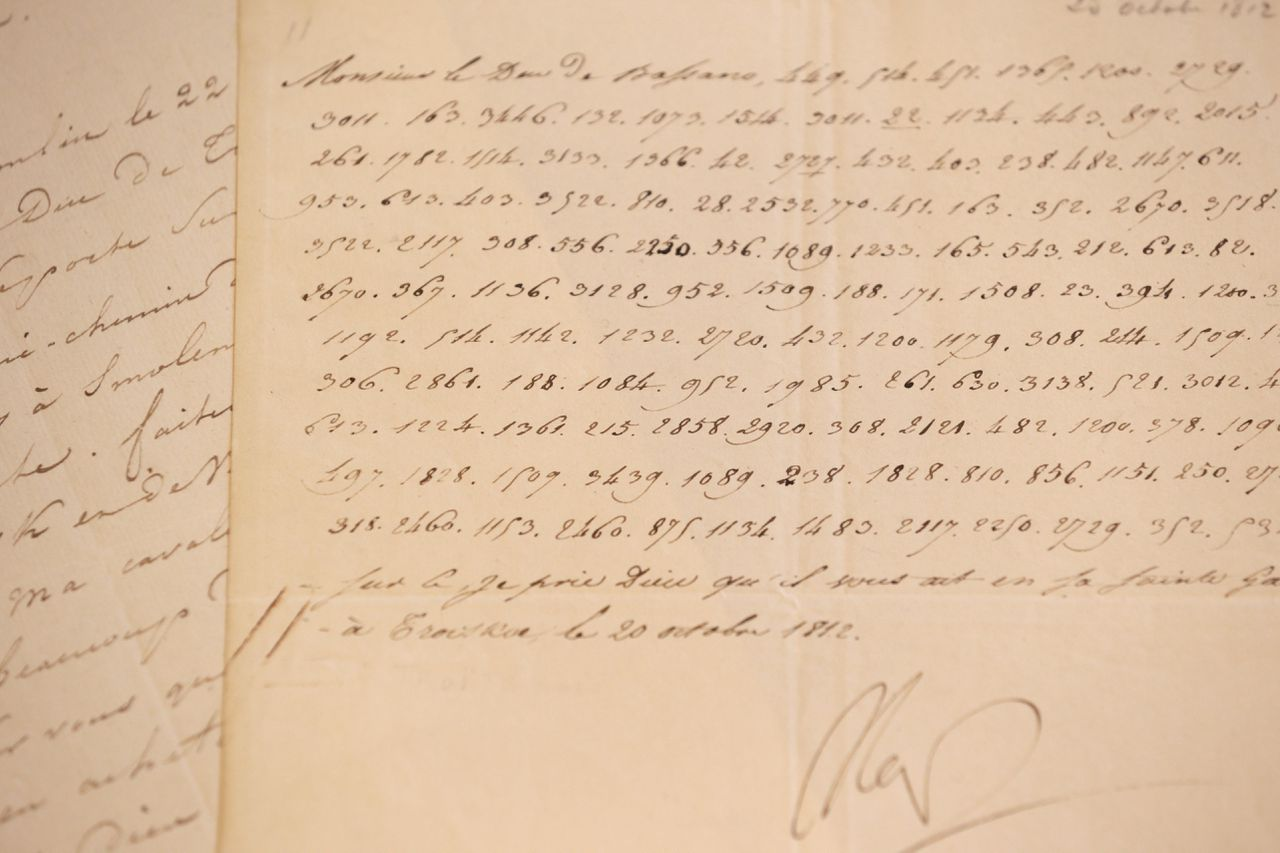 """(FILES) - A photo taken on October 31, 2012 in Paris, shows a coded letter signed by French Emperor Napoleon Ier. The document in which Napoleon vows to blow up the Kremlin has been sold at auction for 150,000 euros near Paris on December 2, 2012, on the anniversary day of Austerlitz battle and Napoleon's coronation. """"I will blow up the Kremlin on the 22nd at three am,"""" reads the missive written in numbers and signed """"Nap"""", expected to fetch between 10,000 and 15,000 euros (13,000 to 20,000 dollars) at the sale in Fontainebleau, near Paris. Dated October 20, 1812, the day after Napoleon retreated from the centre of Moscow, it is addressed to his external relations minister Hugues-Bernard Maret. AFP PHOTO / KENZO TRIBOUILLARD"""