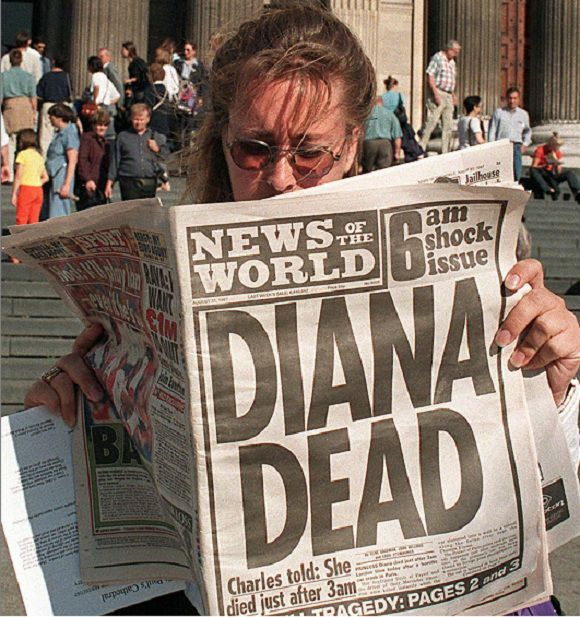 "Caption: A file picture taken on August 31, 1997, shows a woman reading about the death of Britain's Diana, Princess of Wales, in a copy of the News of the World newspaper in London. Britain's News of the World tabloid will print its last ever edition on Sunday July 10, 2011, following a scandal over phone hacking, owner Rupert Murdoch's son James Murdoch said Thursday July 7, 2011. ""Having consulted senior colleagues, I have decided that we must take further decisive action with respect to the paper. This Sunday will be the last issue of the News of the World,"" he said in a statement. AFP PHOTO / DAVE GAYWOOD/FILES"