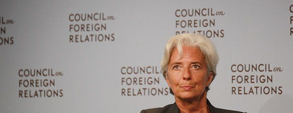 """Caption: NEW YORK, NY - JULY 26: Christine Lagarde, Managing Director of the International Monetary Fund (IMF), delivers a speech on """"Challenges and Opportunities for the World Economy and the IMF"""" at the Council on Foreign Relations on July 26, 2011 in New York City. Lagarde discussed both the Greek and U.S. debt crises. Mario Tama/Getty Images/AFP"""
