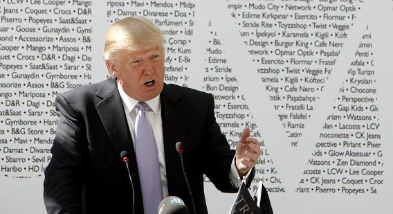 epa03189358 US business magnate Donald Trump, founder of Trump Entertainment Resorts, speaks during a press conference as he presents the Trump Towers Istanbul Mall in Istanbul, Turkey 20 April 2012. The building has a 39 floor residence tower and 37 floor business tower. Prime Minister Recep Tayyip Erdogan was also in attendance EPA/TOLGA BOZOGLU