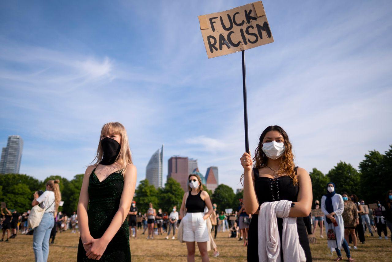 Demonstranten op het Malieveld, dinsdag.