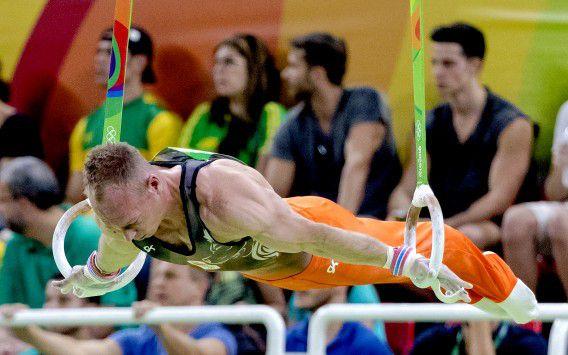 Yuri van Gelder eerder deze week aan de ringen tijdens de kwalificatie turnen in de Rio Olympic Arena tijdens de Olympische Spelen in Rio.