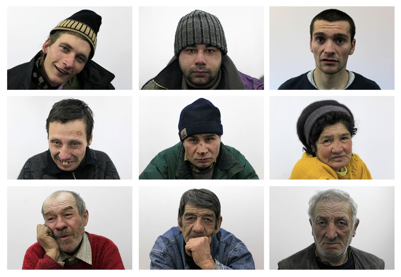 Portraits of homeless people inside an overcrowded shelter set up by the city hall in Bucharest, are seen in this combination picture taken January 31, 2012, as temperatures plunge to minus 16 degrees Celsius (minus 3 degrees Farenheit) overnight. More than 60 people have died in a cold snap across Eastern Europe, authorities said on Tuesday, forcing some countries to call in the army to help secure food and medical supplies and set up emergency shelters for the homeless. The temperature in Ukraine sank to minus 33 degrees Celsius (minus 27 Fahrenheit), the coldest in six years, while eastern Bosnia experienced lows of minus 31 C (minus 24 F) and Poland, Romania and Bulgaria minus 30 C (minus 22 F). Thirteen people have died from the cold in Romania, according to local media. The people pictured are Radu Florian Pavel, 21, Vasile Calin, 27, Bogdan Oprisor Radulescu, 28 (top row, L-R), Ion Iordache, 40, Jean Raducanu, 41, Iuliana Pricop, 54, (middle row, L-R), Nicolae Grozea, 57, George Zaharia, 58, and Ion Decu, 66 (bottom row, L-R). REUTERS/Radu Sigheti (ROMANIA - Tags: ENVIRONMENT SOCIETY POVERTY TPX IMAGES OF THE DAY)