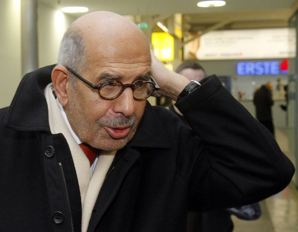 """Former Director General of the International Atomic Energy Agency, IAEA, and Nobel Peace Prize winner Mohamed ElBaradei arrives to catch his flight to Cairo at Vienna's Schwechat airport, Austria, Thursday, Jan. 27, 2011. In Vienna, ElBaradei told reporters that """"the regime has not been listening."""" He urged the Egyptian regime to exercise restraint with protesters, saying they have been met with a good deal of violence which could lead to an """"explosive situation."""" He added that his goal is to make sure things will go in an orderly and peaceful way and says that those who have taken to the streets are expressing their """"legitimate need"""" for an Egypt that is democratic and based on social justice.(AP Photo/Ronald Zak)"""