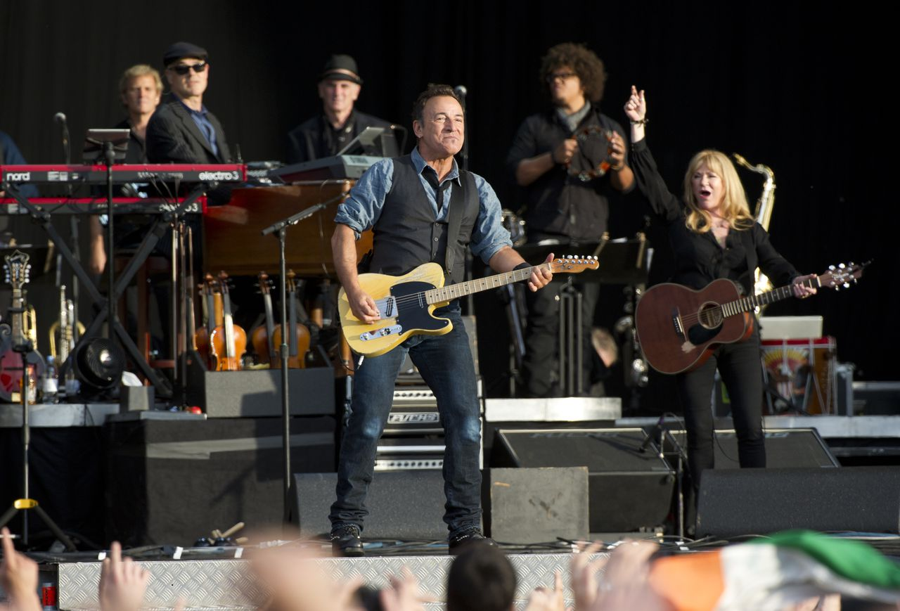 Bruce Springsteen performs at the Hard Rock Calling Festival in London's Hyde Park, Saturday, July 14, 2012. (AP Photo)