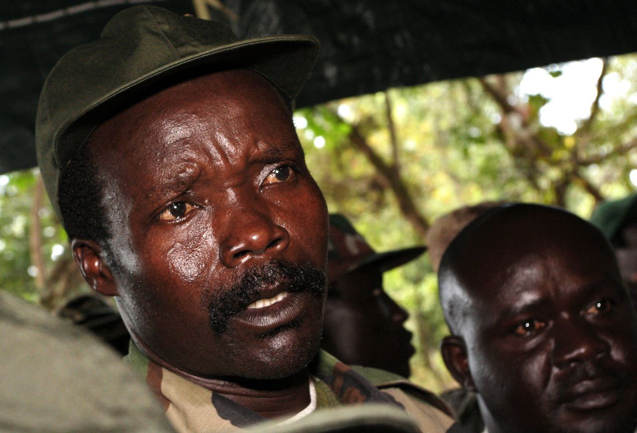 FILE - In this Nov. 12, 2006 file photo, the leader of the Lord's Resistance Army, Joseph Kony answers journalists' questions following a meeting with UN humanitarian chief Jan Egeland at Ri-Kwamba in southern Sudan. A video by the advocacy group Invisible Children about the atrocities carried out by jungle militia leader Joseph Kony's Lord's Resistance Army is rocketing into viral video territory and is racking up millions of page views seemingly by the hour. (AP Photo/Stuart Price, File, Pool)