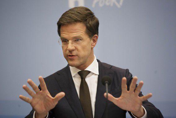 Premier Mark Rutte tijdens de persconferentie na afloop van de Ministerraad in perscentrum Nieuwspoort vorige week. ANP PHIL NIJHUIS