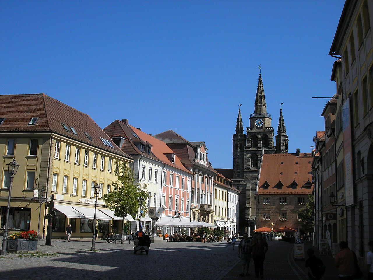 Martin-Luther plein in Ansbach.