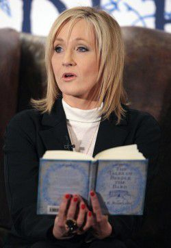 """FILE - A Thursday Dec. 4, 2008 photo from files showing author JK Rowling reading to around 200 schoolchildren at a tea party in the Parliament Hall Edinburgh Thursday Dec, 4, 2008, where she read passages from her new book """"The Tales of Beedle the Bard"""". J.K Rowling described how press intrusion made her feel like a hostage, Hugh Grant traded insults with a newspaper editor and a former tabloid reporter insisted that only evildoers had any need of privacy. The first phase of Britain's media ethics inquiry ended this week after 40 days of dramatic hearings that heard from 184 witnesses _ celebrities, journalists, editors, academics and lawyers _ and revealed wildly differing perspectives on the murky workings of the tabloid press. (AP Photo/ David Cheskin, File, Pool)"""