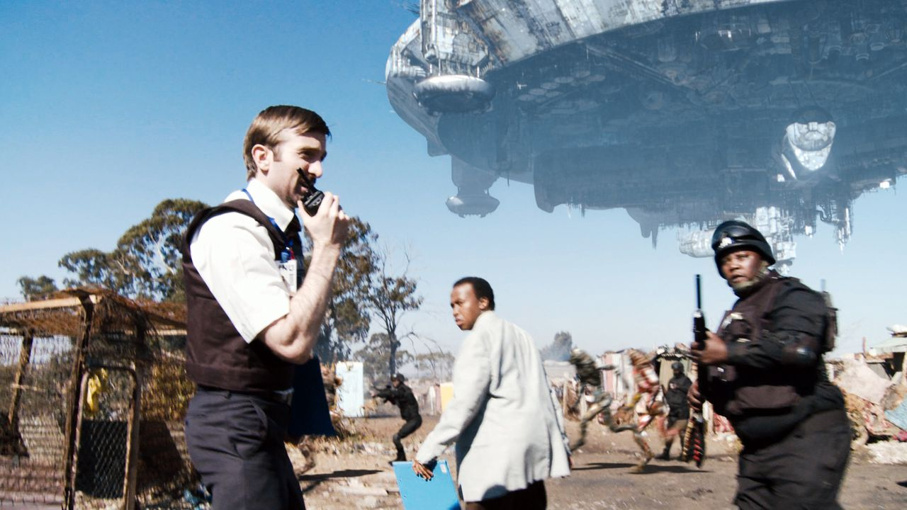 """In this film publicity image released by Sony Pictures, from left, Sharlto Copley, Mandla Gaduka and Kenneth Nkosi are shown in a scene from, """"District 9."""" The film was nominated Tuesday, Feb. 2, 2010 for an Oscar for best picture. The 82nd Academy Awards will be presented on March 7. (AP Photo/Sony Pictures)"""