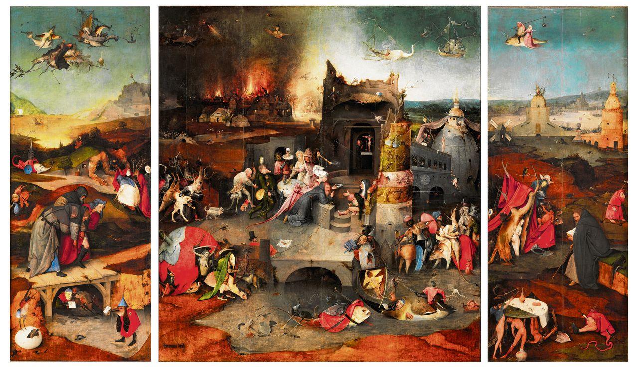 De verzoeking van de heilige Antonius, triptiek van Jheronimus Bosch uit circa 1500. Olie op paneel (midden 131,5 x 111,9 cm, linker/rechter 131,5 x 53 cm). Afkomstig uit Lissabon, nu in Madrid te zien.
