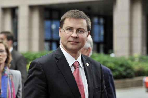 De Letse premier Valdis Dombrovskis, hier bij aankomst in Brussel eind oktober.