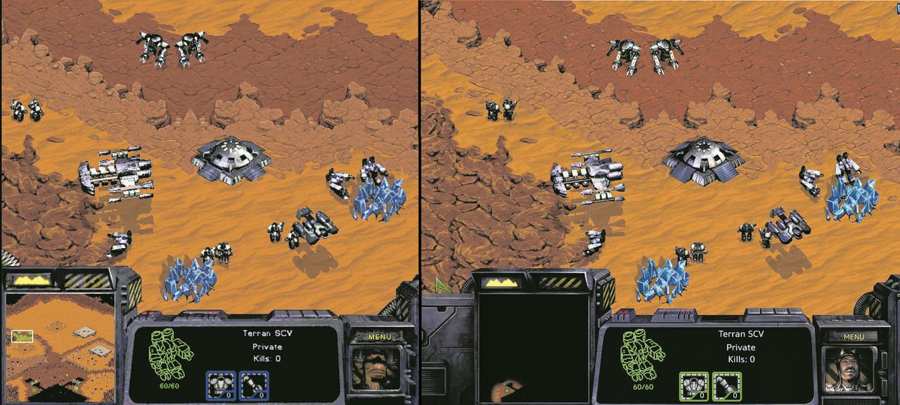 StarCraft (links) en StarCraft Remasterd (rechts).