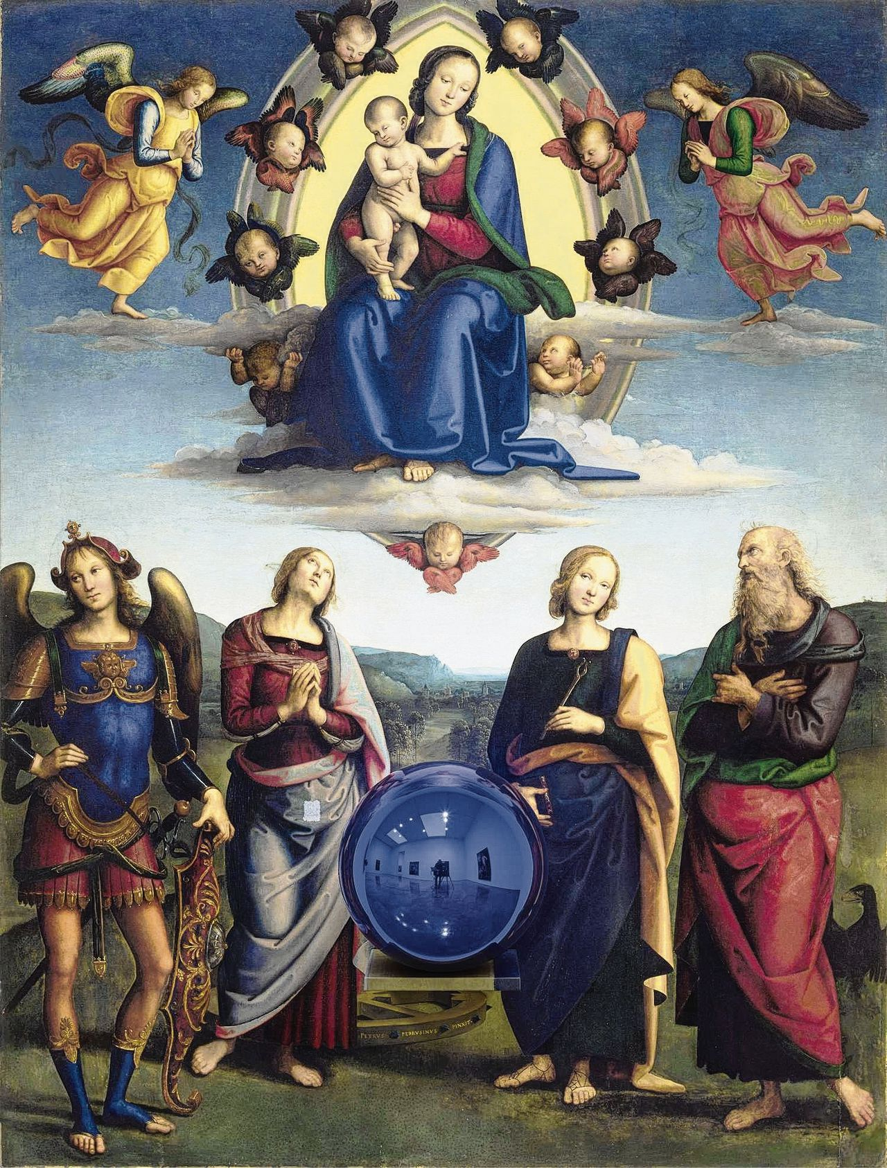 Jeff Koons, Gazing Ball (Perugino Madonna and Child with Four Saints), 2014–15