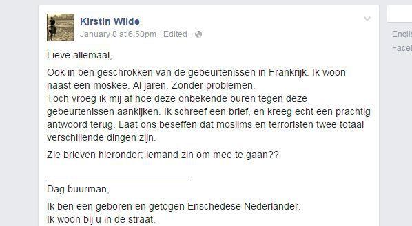 Een screenshot van de brievenwisseling, geplaatst op Facebook.