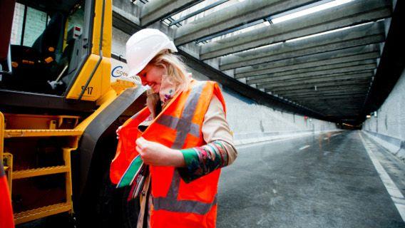 Minister van Infrastructuur en Milieu Melanie Schultz van Haegen tijdens de opening van de Tweede Coentunnel in Amsterdam.