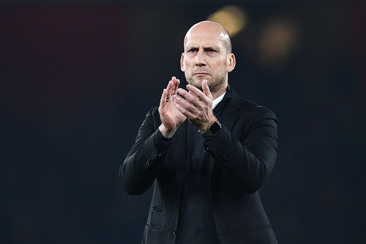Jaap Stam als trainer van de Engelse club Reading.