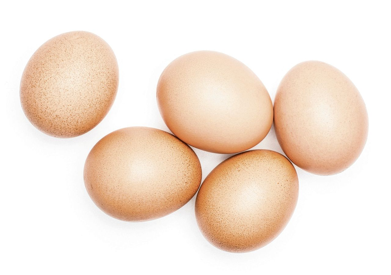 Brown chicken eggs top view isolated on white background five domestic