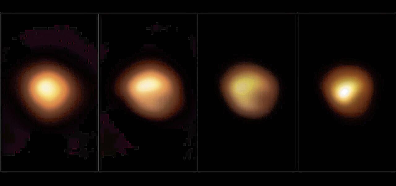 Geheel links: Betelgeuze in volle helderheid (januari 2019). Daarnaast de gedimde reus in december 2019, januari 2020 en maart 2020.