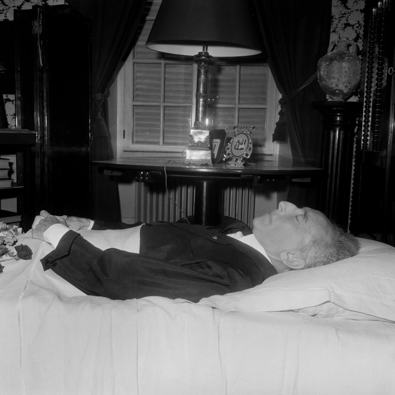Picture released on October 12, 1963 of Jean Cocteau lying on his deathbed. Jean Cocteau (5 July 1889 – 11 October 1963) was a French poet, novelist, dramatist, writer, playwright, and director. Betwwen the two actor Jean-Claude Brialy.