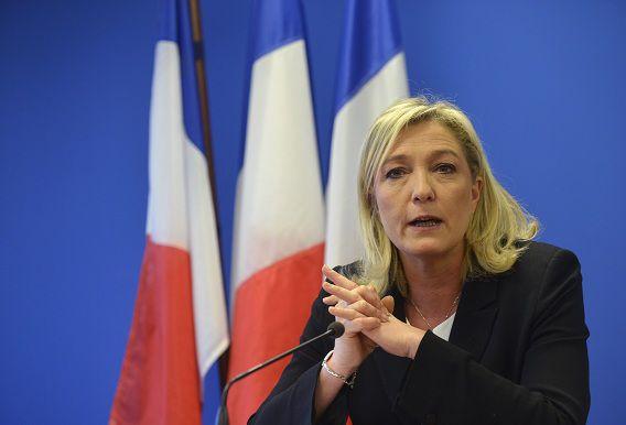 Le Pen in januari tijdens een toespraak in Parijs.