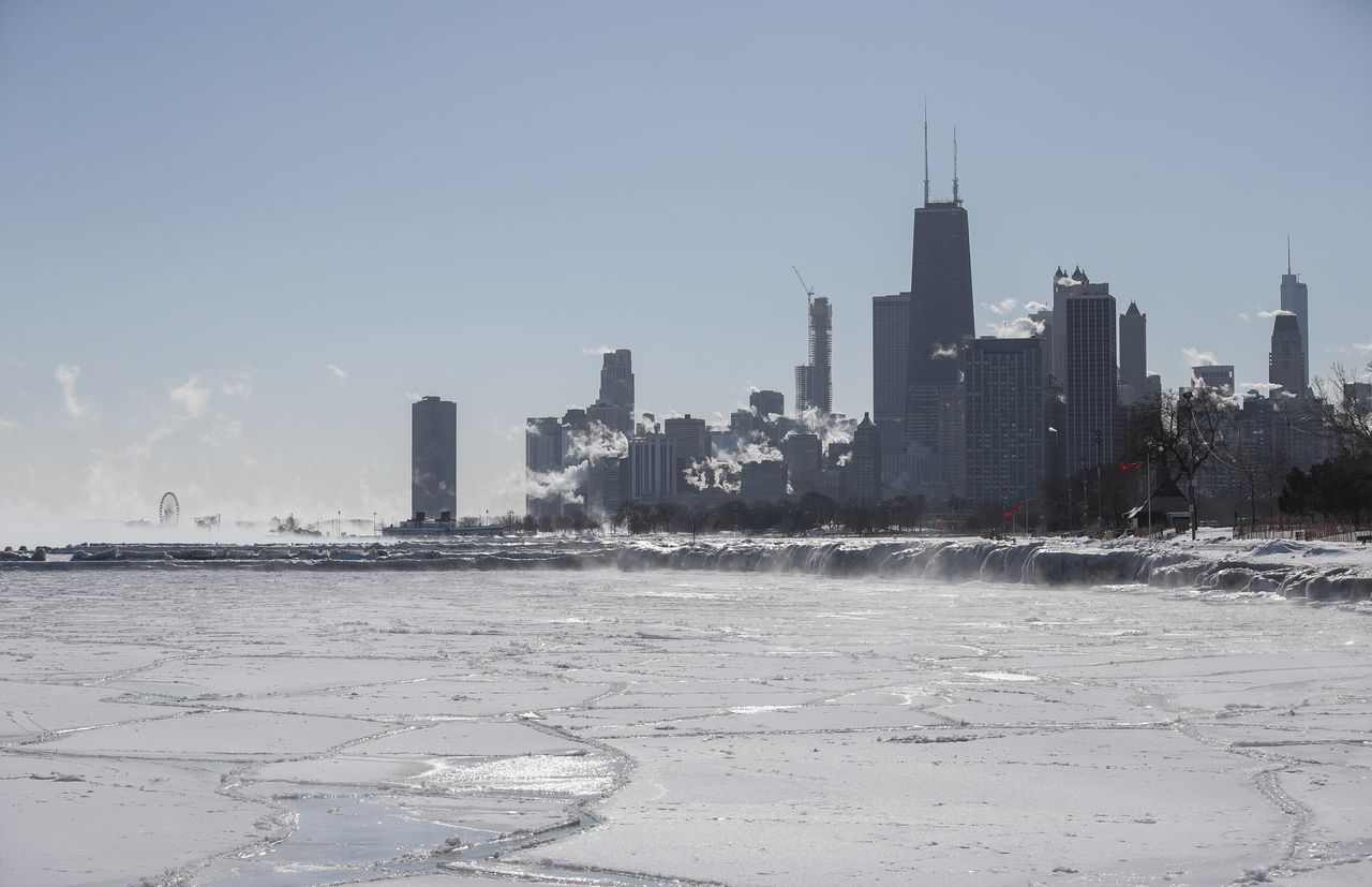 In Chicago is de temperatuur woensdag gedaald tot min 28 graden Celsius.