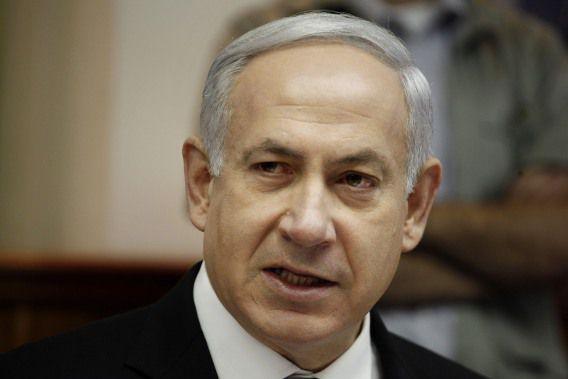 Premier Benjamin Netanyahu vandaag tijdens de wekelijkse bijeenkomst van het kabinet in Jerusalem.