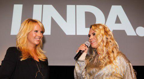 Linda de Mol (L) en LINDA-hoofdredacteur Jildou van der Bijl (R)
