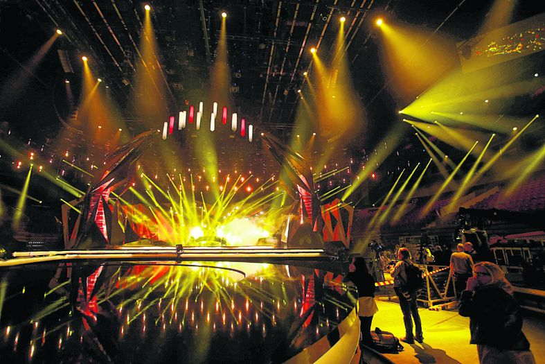 The stage for the Eurovision Song Contest is revealed during a press call at the Malmo Arena in Malmo, Sweden, Thursday, May 2, 2013. The Eurovision Song Contest in Malmo, starts with the semifinal on May 14. (AP Photo/Scanpix, Drago Prvulovic) SWEDEN OUT