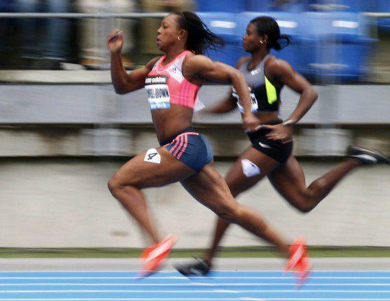 Veronica Campbell-Brown op de 200 meter bij de Diamond League Adidas Grand Prix in mei dit jaar in New York.
