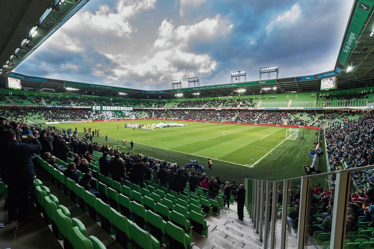 Lege plekken in het stadion van FC Groningen, zoals bij de wedstrijd tegen ADO Den Haag vorige maand. Er kwamen 16.000 toeschouwers.
