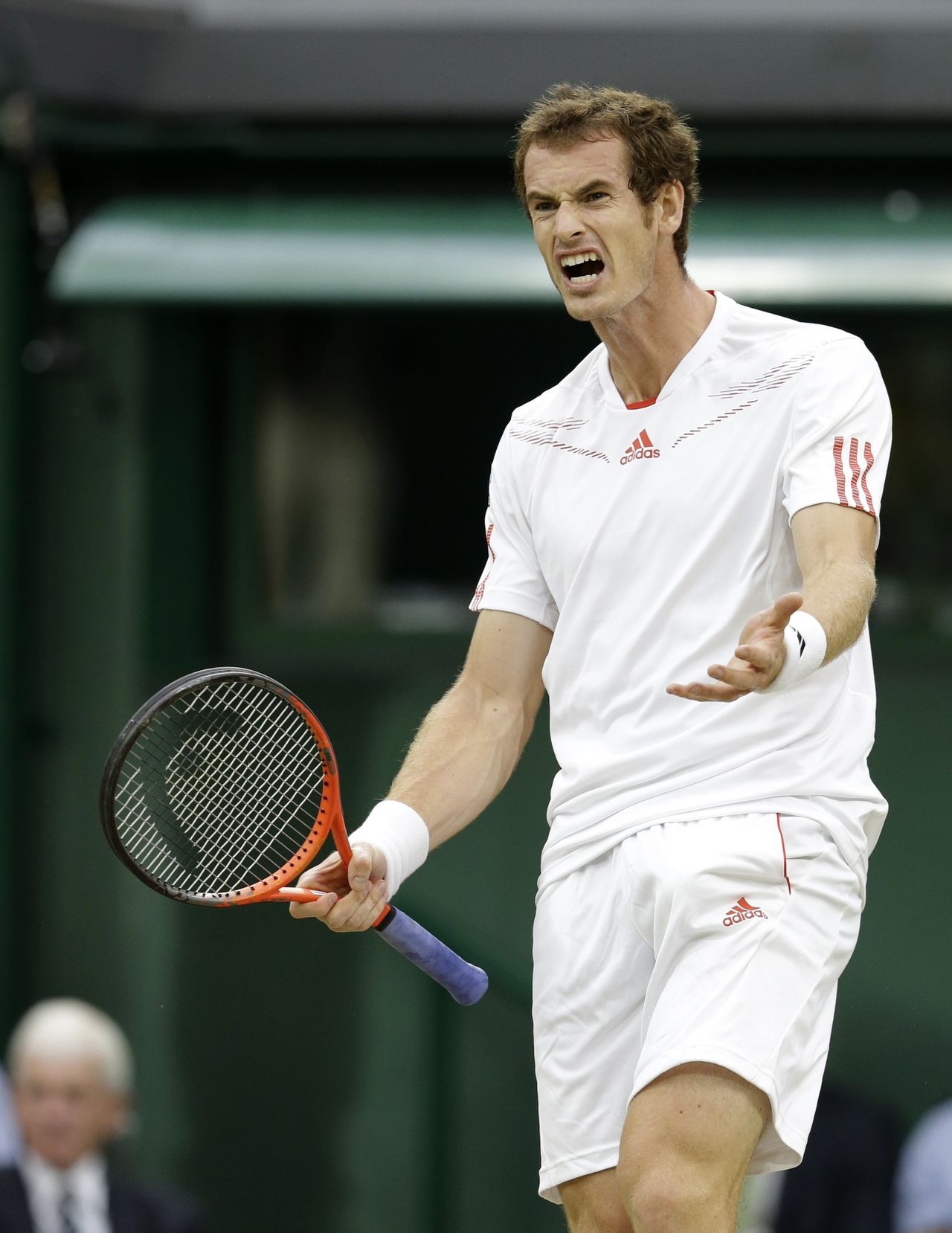 Andy Murray of Britain reacts during the men's final match against Roger Federer of Switzerland at the All England Lawn Tennis Championships at Wimbledon, England, Sunday, July 8, 2012. (AP Photo/Kirsty Wigglesworth)