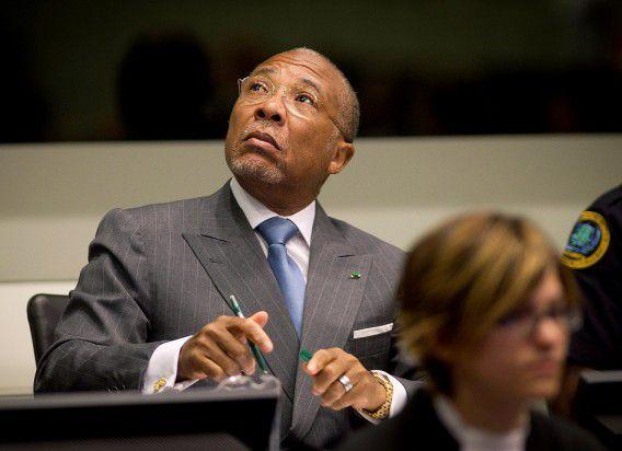 Taylor twee weken geleden bij het Speciale Hof voor Sierra Leone in Leidschendam. Taylor werd schuldig bevonden aan medeplichtigheid aan oorlogsmisdaden en krijgt vandaag zijn straf te horen.
