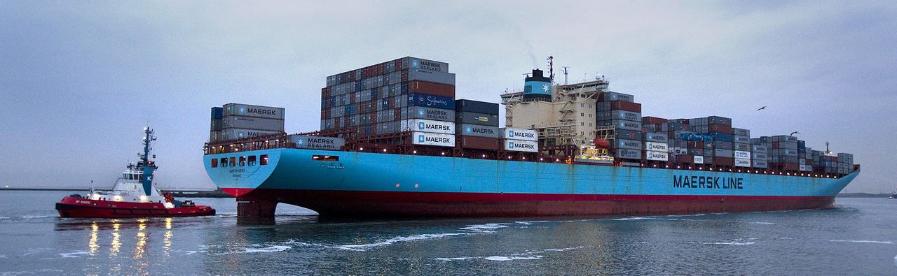 The Carsten Maersk, the first container ship to sail from Japan to Rotterdam since the nuclear disaster at Fukushima, enters Europe's largest port, Rotterdam April 14, 2011. The Carsten Maersk has already undergone a radioactivity check during a stop-off at the British port of Felixstowe but will undergo a thorough check for radioactivity in the Rotterdam Port. A total of 380 containers of the 1,200 on board come from Japan. The containers carry electronic equipment but not food. REUTERS/Jerry Lampen (NETHERLANDS - Tags: DISASTER TRANSPORT BUSINESS)