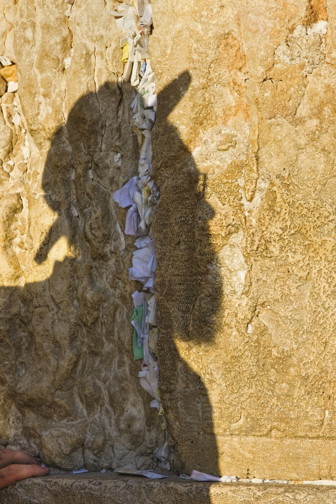 Hasidic Jew Casting His Shadow on the Western Wall --- Image by © Jon Hicks/Corbis