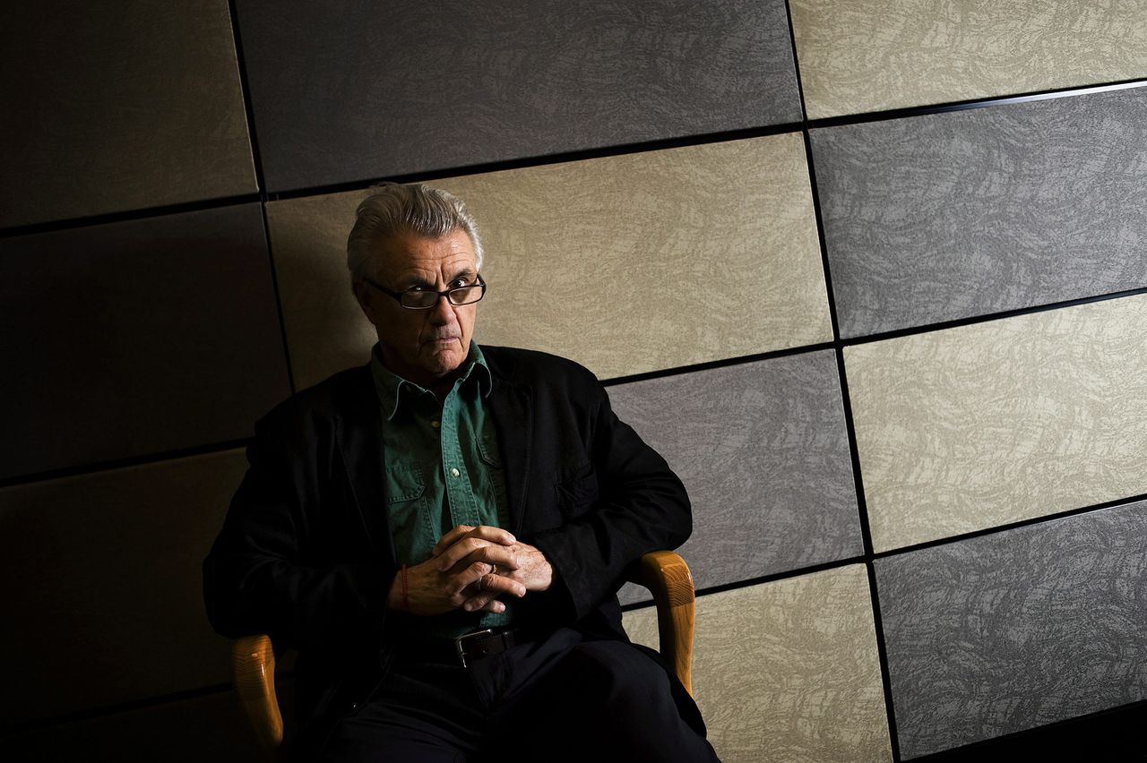 """Author John Irving sits for a portrait while promoting his new book """"In One Person"""" in Toronto on Monday April 30, 2012. (AP Photo/Aaron Vincent Elkaim, The Canadian Press)"""