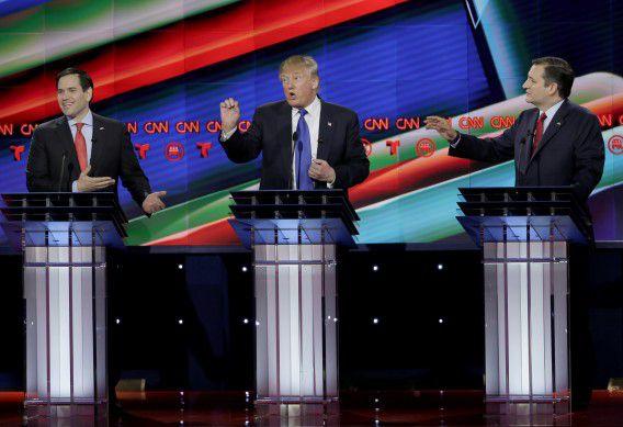 Het Republikeinse debat in Houston was chaotisch en verzandde in verhitte discussies tussen senator Marco Rubio, koploper Donald Trump en senator Ted Cruz.