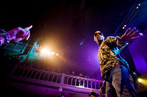 Pharrell Williams tijdens een concert van zijn hiphopband N*E*R*D in de Amsterdamse poptempel Paradiso in 2010. Komend weekend staat hij solo op North Sea Jazz in Rotterdam.