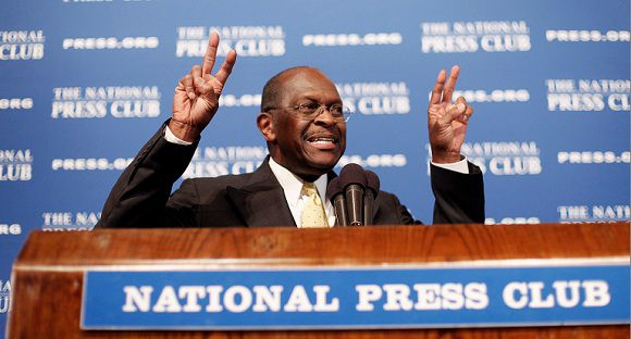 Caption: FILE - In this Oct. 31, 2011, file photo Republican presidential candidate Herman Cain speaks at the National Press Club in Washington. He denied allegations that he sexually harassed anyone. But his halting response to the allegations has heightened intra-party tensions, and is causing a major distraction in the GOP race, drawing attention away from his rivals' efforts to gain ground or announce initiatives. (AP Photo/Pablo Martinez Monsivais, File)