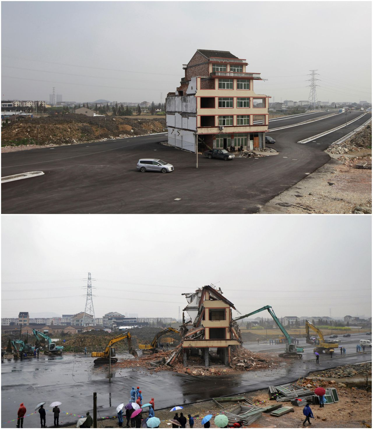 A house is seen on November 24, 2012 (top), and being demolished by excavators on December 1, 2012 (bottom), in the middle of a newly built road in Wenling, Zhejiang province, in this combination picture. Luo Baogen, the owner of the house, who earlier refused to sign an agreement to allow his house to be demolished, finally signed the agreement after discussions with the local government and his relatives. Luo and his wife had said that the compensation offered was not enough to cover rebuilding costs, according to local media. The demolition of the house started this Saturday, local media reported. Luo 's house was the only building left standing on the road, which was paved through the village. REUTERS/Aly Song and China Daily (CHINA - Tags: BUSINESS CONSTRUCTION SOCIETY TPX IMAGES OF THE DAY) CHINA OUT. NO COMMERCIAL OR EDITORIAL SALES IN CHINA