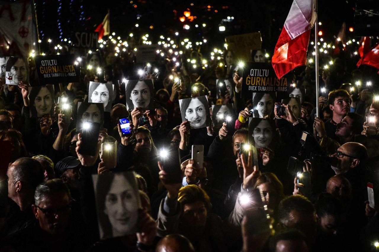 Een herdenking van de vermoorde Daphne Caruana Galizia in 2019.