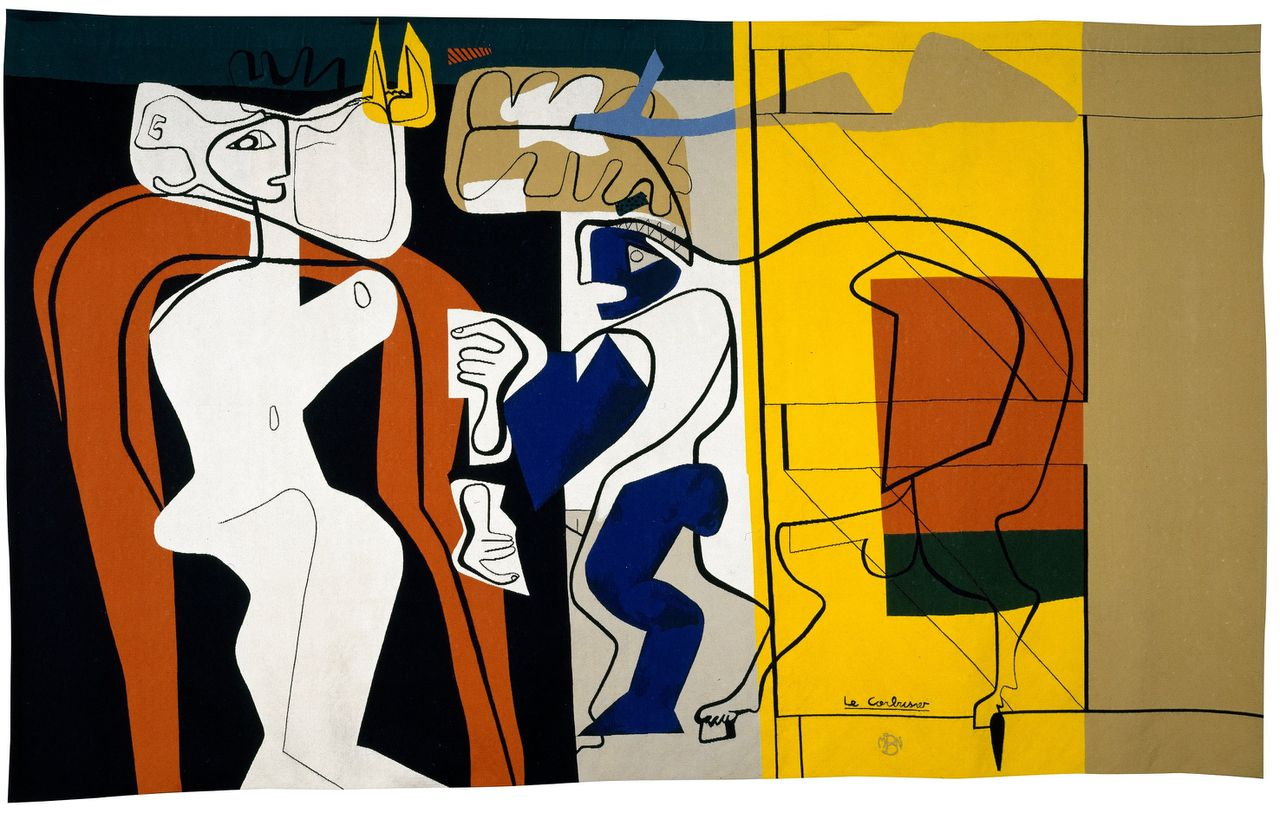 Le Corbusier, De vrouw en de smid, 1967. Manufacture de Beauvais, wol, 217 x 362 cm. Collectie Mobilier national © Fondation Le Corbusier, c/o Pictoright Amsterdam 2019
