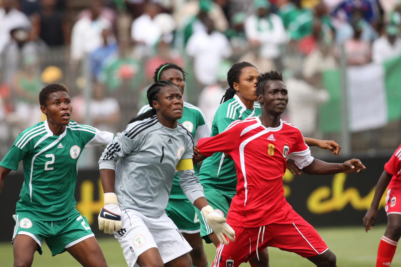 In this photo taken Nov 14, 2010 Equatorial Guinea's Salimata Simpore, front right, during the final of the CAF African Woman Championship in Daveyton, South Africa. The Nigerian Football Federation says it has made an official complaint to the African Football Federation that members pf the Equatorial Guinea women's team are men. (AP Photo)