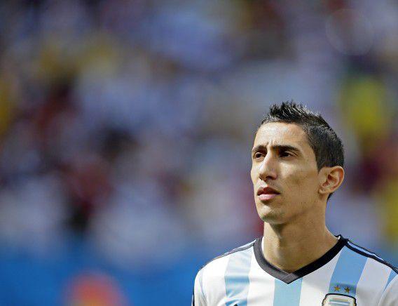 Angel di Maria tijdens de wedstrijd tegen België op het afgelopen WK. Manchester United heeft 75 miljoen euro voor de Argentijn betaald.