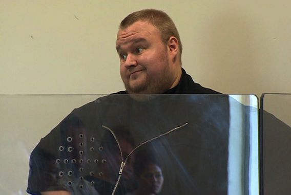 Dotcom tijdens zijn eerste voorgeleiding in Nieuw-Zeeland, op 25 januari.