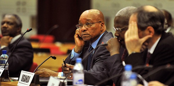 South African President, Jacob Zuma (C) attends a special African Union meeting on Sudan, on January 31, 2011 in Addis Ababa. African Union leaders sought a peaceful solution to crises in Ivory Coast and other continental hotspots Sunday even as they designated a new chairman notorious for his brutal seizure of power. AFP PHOTO/Tony KARUMBA