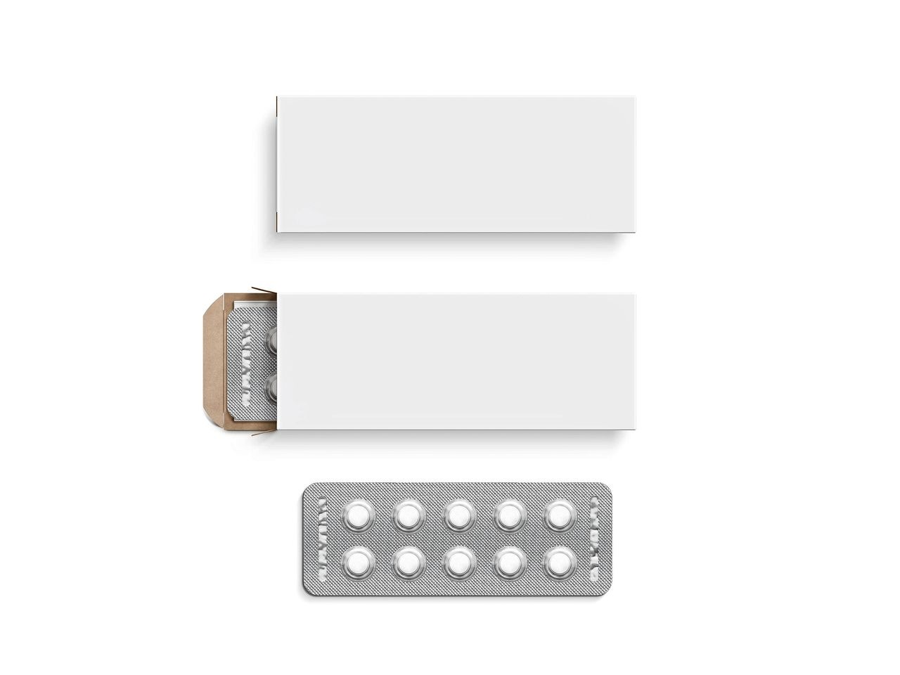 Blank white pill box design mockup set, isolated, 3d illustration. Clear blister pillbox template mock up. Open and close tablets cardboard container. Blister pill boxing with drug capsule branding