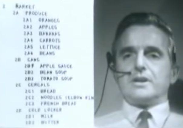Engelbart tijdens de demo in 1968.