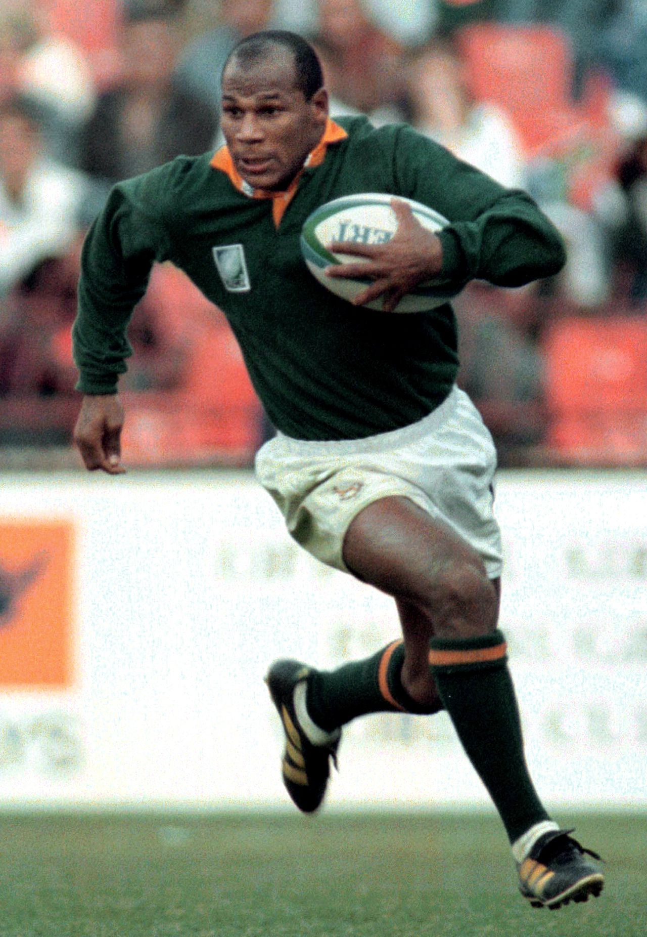 South African winger Chester Williams runs downfield during the Rugby World Cup quarter final match against Western-Samoa at Ellis Park June 10. Williams scored four tries and 20 points for his team. South Africa won 42-14 and qualified for the semi-finals